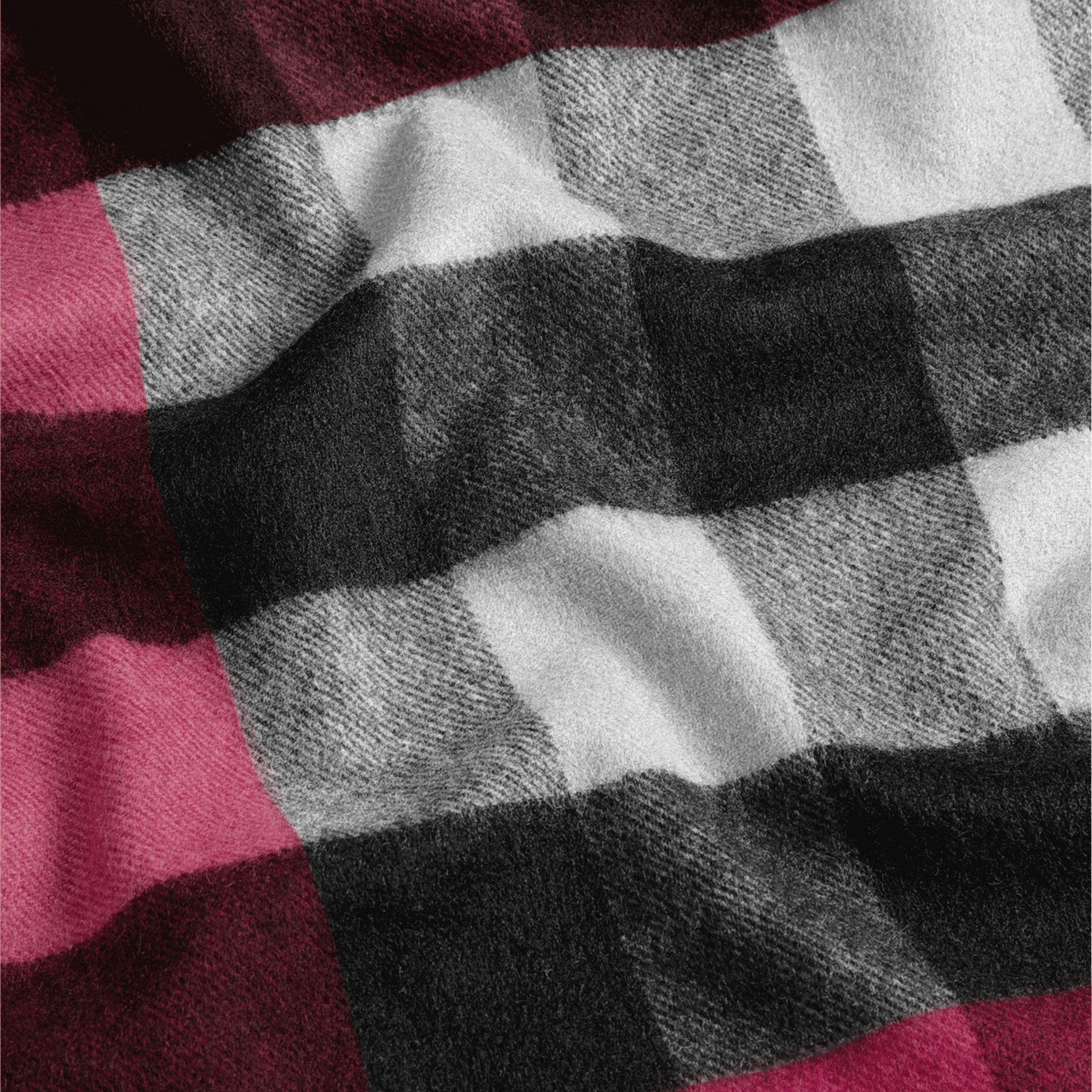 The Large Classic Cashmere Scarf in Check Plum - gallery image 5