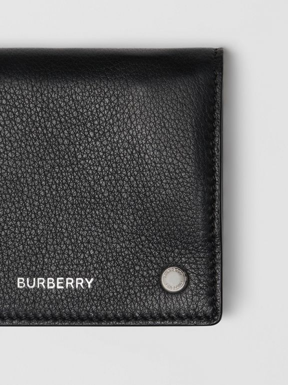 Grainy Leather Trifold Wallet in Black | Burberry - cell image 1