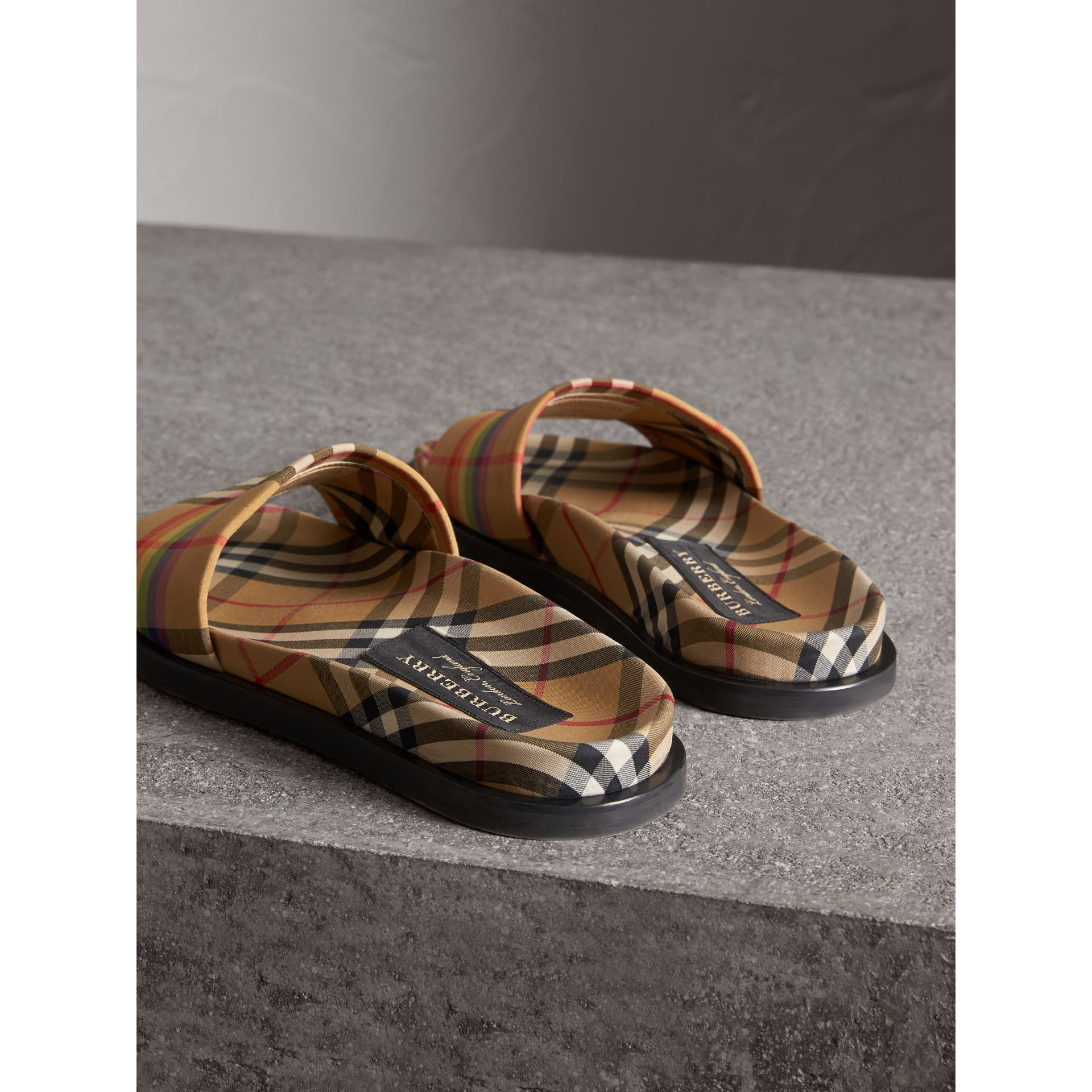 Rainbow Vintage Check Slides in Antique Yellow - Men | Burberry Australia - gallery image 3