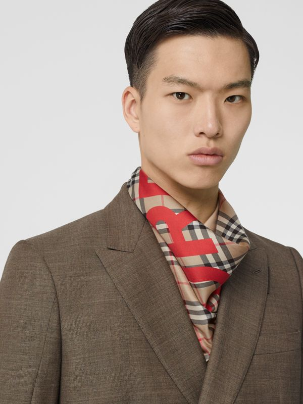 Horseferry Print Vintage Check Silk Square Scarf in Archive Beige | Burberry - cell image 3