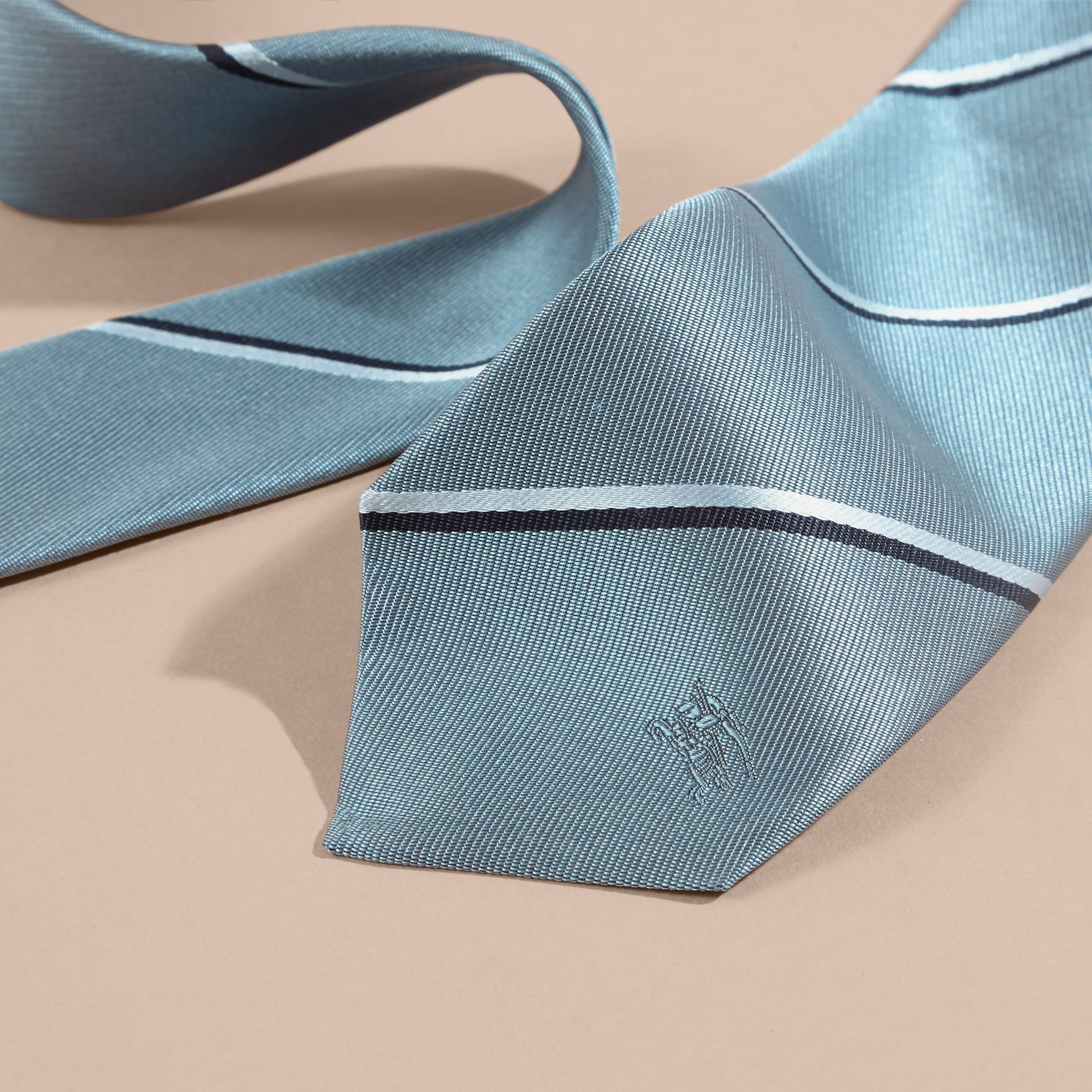 Slim Fit Striped Silk Tie in Light Blue - gallery image 2