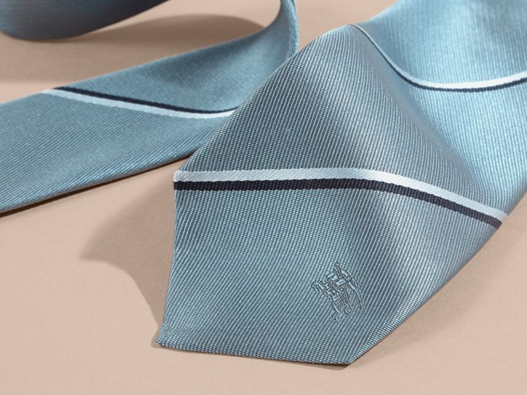 Slim Fit Striped Silk Tie in Light Blue - cell image 1