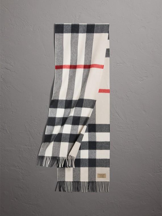 Cachecol clássico de cashmere com estampa xadrez - Grande (Areia)