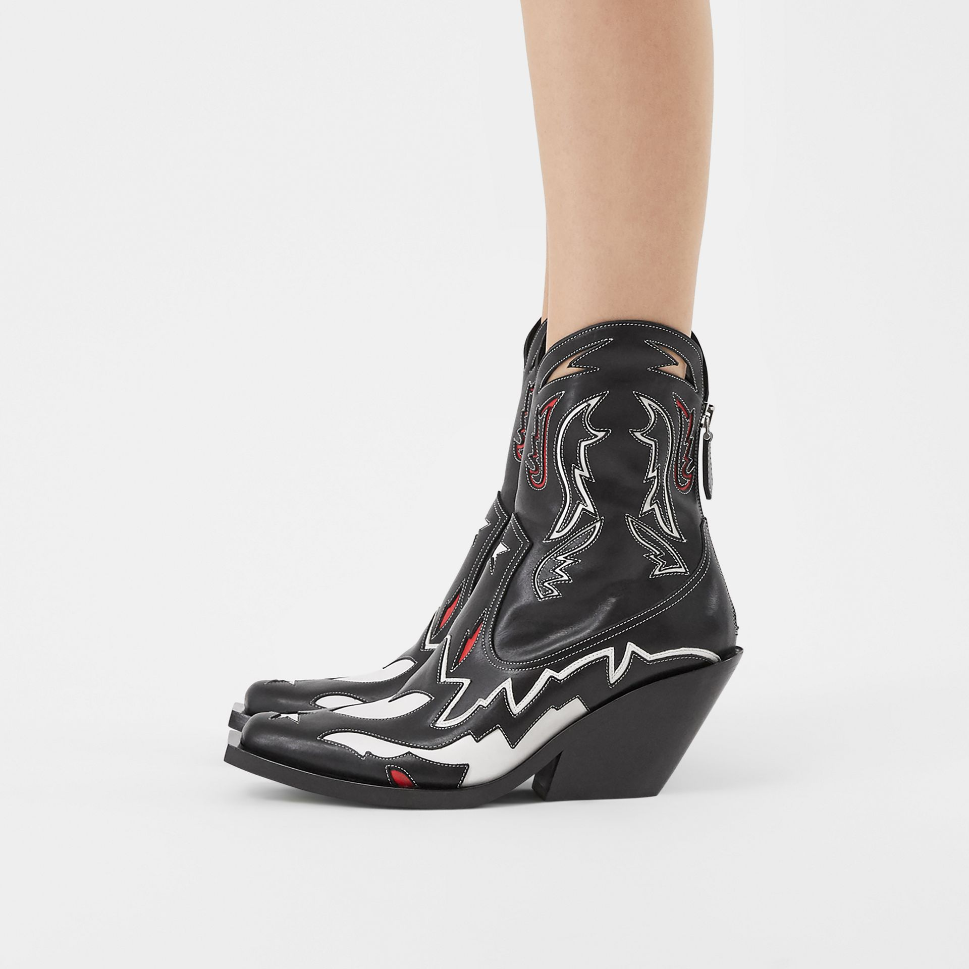 Topstitch Appliqué Leather Boots in Black/white - Women | Burberry - gallery image 2