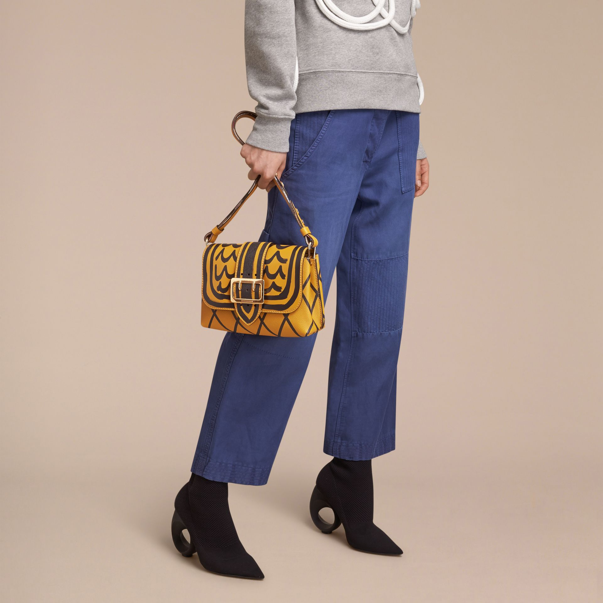 The Buckle Crossbody Bag in Trompe L'oeil Leather in Bright Straw - gallery image 8