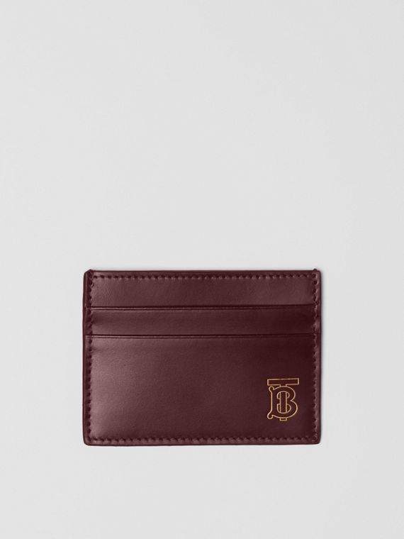 Monogram Motif Leather Card Case in Oxblood