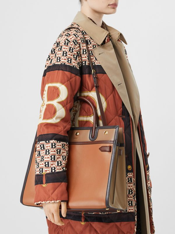 Medium Colour Block Leather Two-handle Title Bag in Soft Fawn - Women | Burberry United States - cell image 2