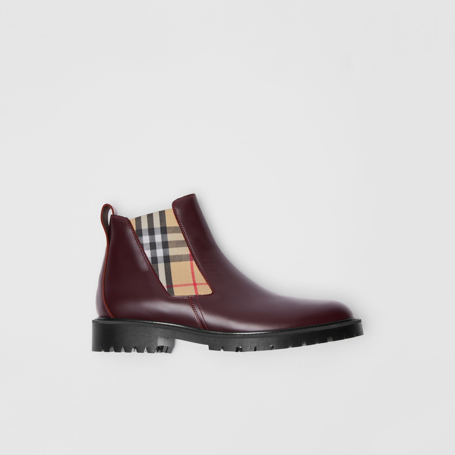 Vintage Check Detail Leather Chelsea Boots in Oxblood - Men | Burberry United States - gallery image 0