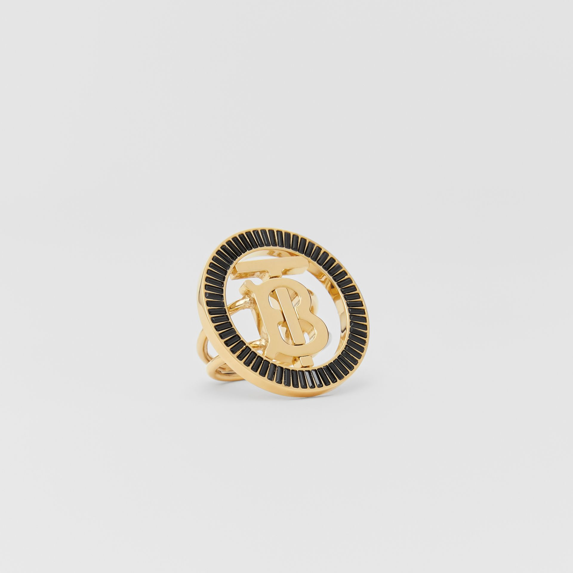 Crystal Detail Gold-plated Monogram Motif Ring in Jet Black - Women | Burberry - gallery image 2