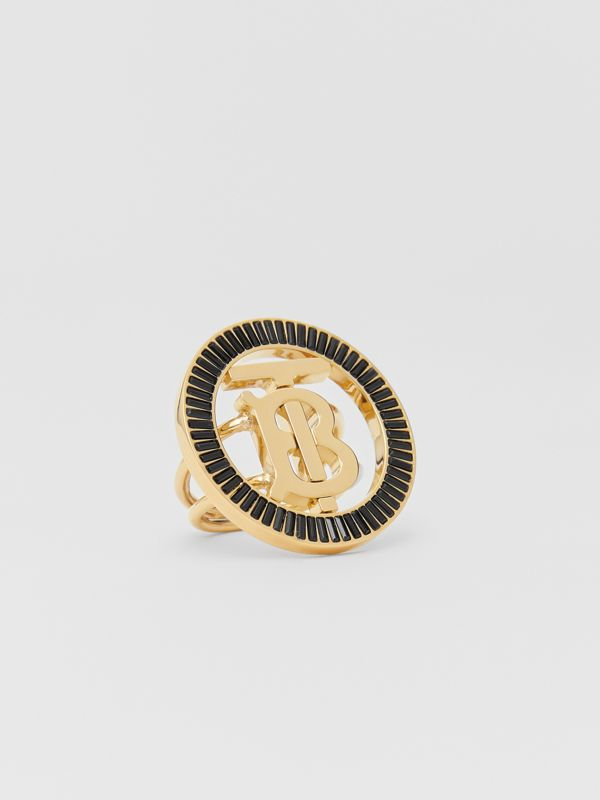 Crystal Detail Gold-plated Monogram Motif Ring in Jet Black - Women | Burberry - cell image 2