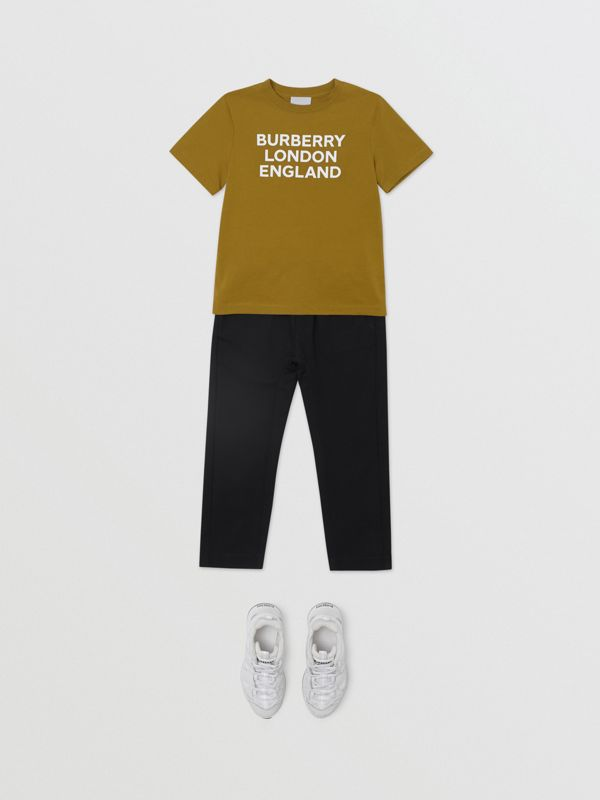 Logo Print Cotton T-shirt in Olive | Burberry United Kingdom - cell image 3