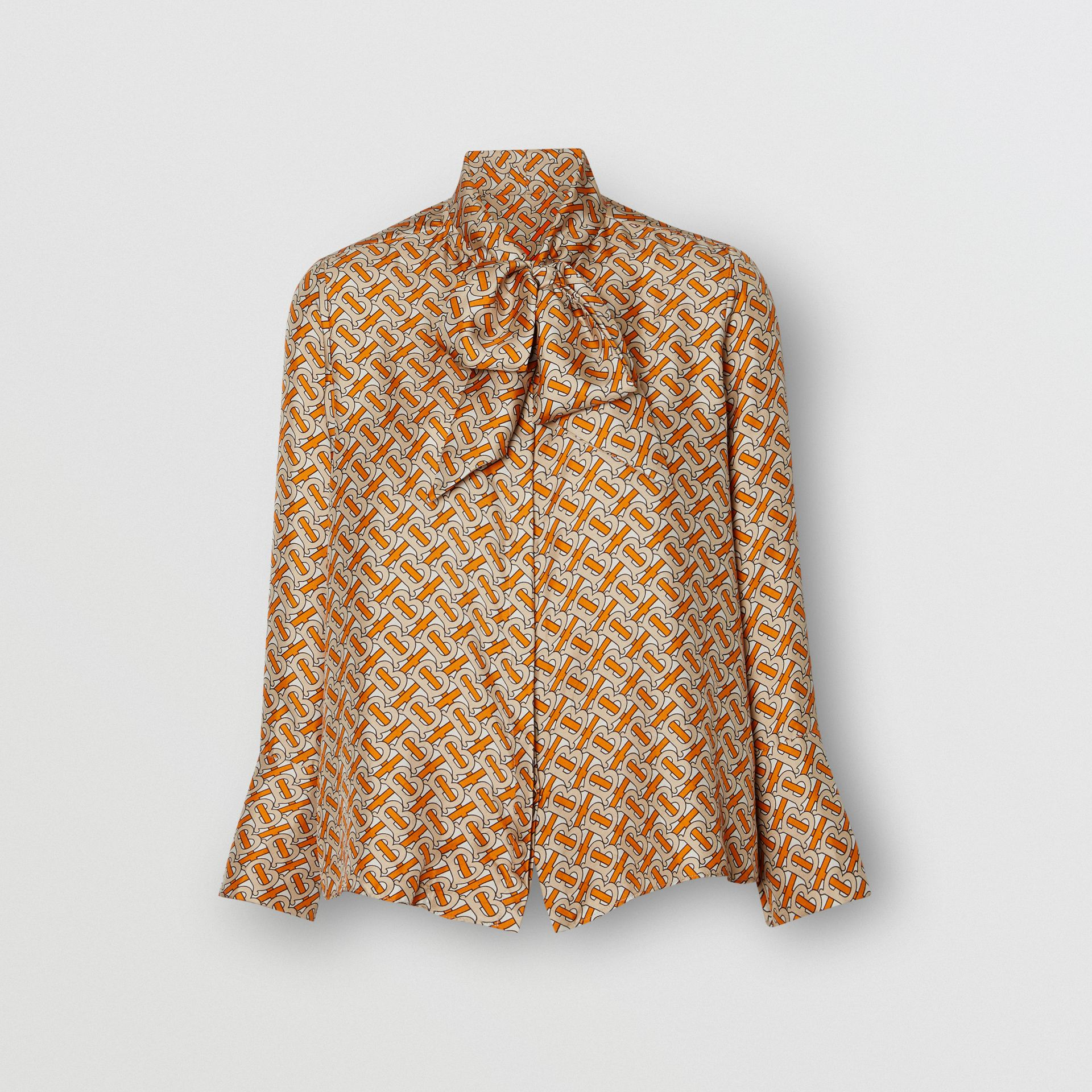 Monogram Print Silk Pussy-bow Blouse in Bright Orange - Women | Burberry Canada - gallery image 3
