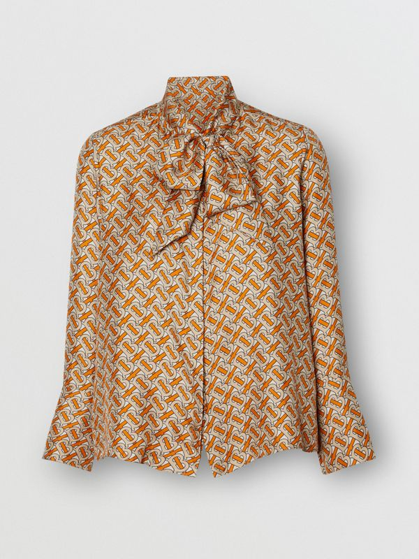 Monogram Print Silk Pussy-bow Blouse in Bright Orange - Women | Burberry United Kingdom - cell image 3