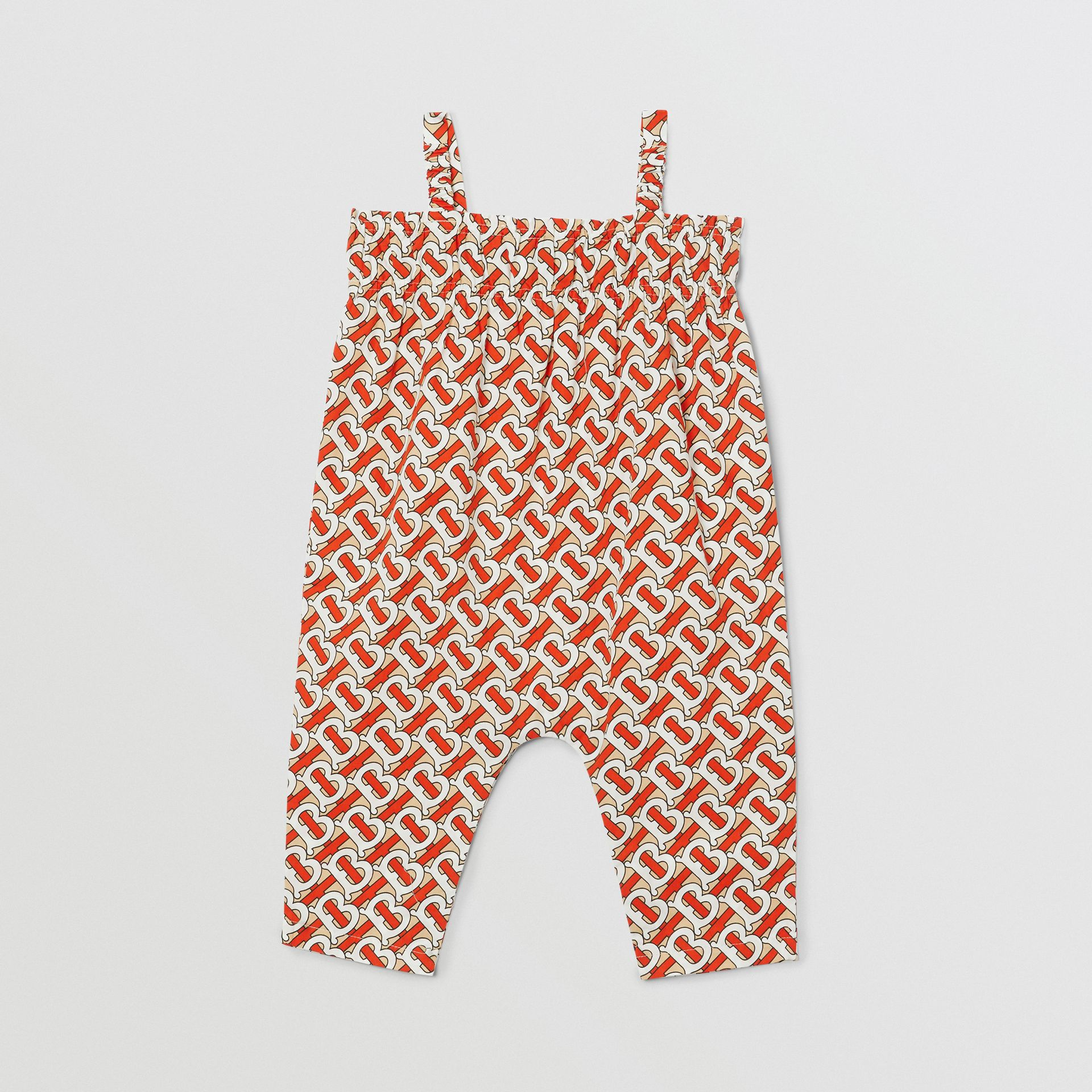 Smocked Monogram Print Cotton Poplin Jumpsuit in Vermilion Red - Children | Burberry - gallery image 3
