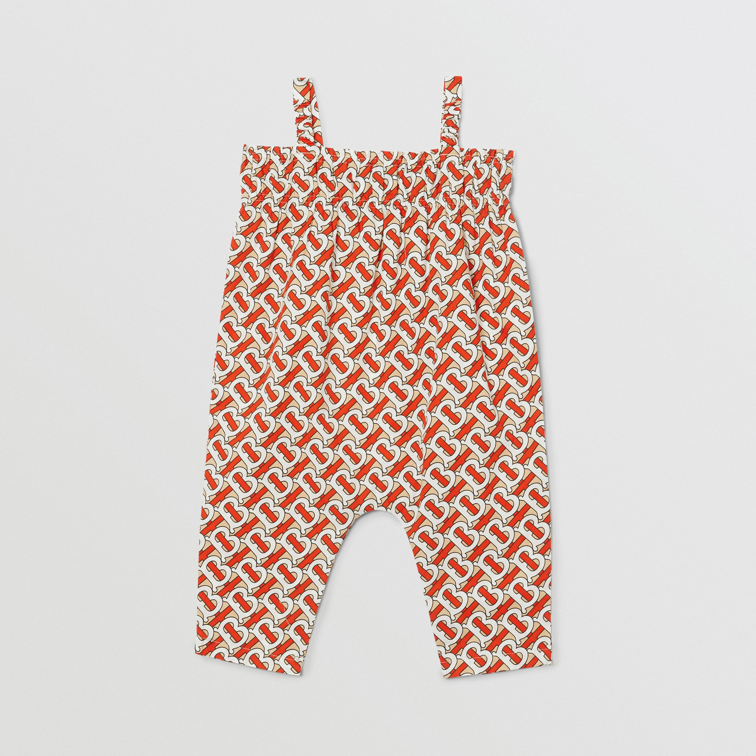 Smocked Monogram Print Cotton Poplin Jumpsuit in Vermilion Red - Children | Burberry - 4