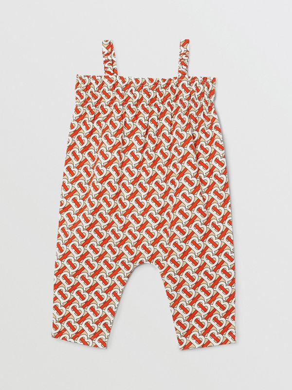 Smocked Monogram Print Cotton Poplin Jumpsuit in Vermilion Red - Children | Burberry - cell image 3