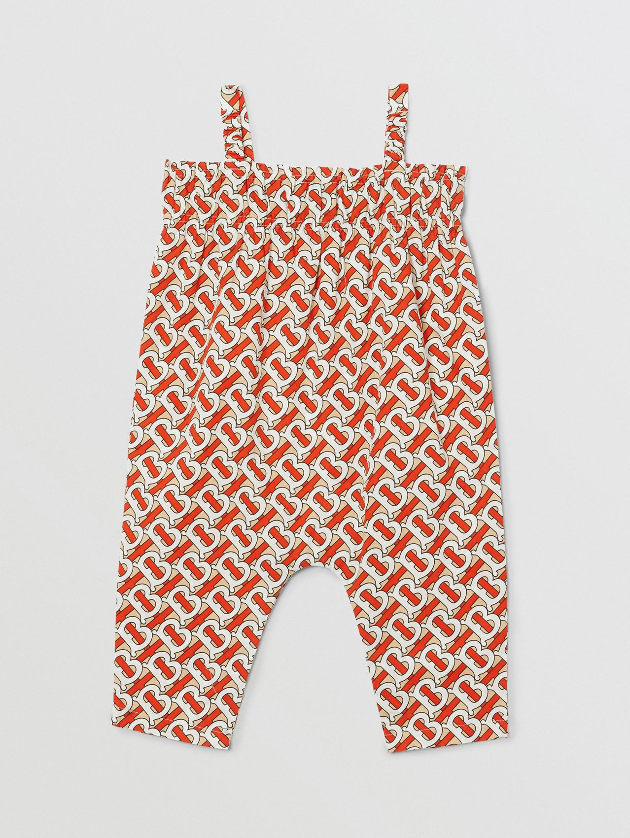 Smocked Monogram Print Cotton Poplin Jumpsuit (Vermilion Red)