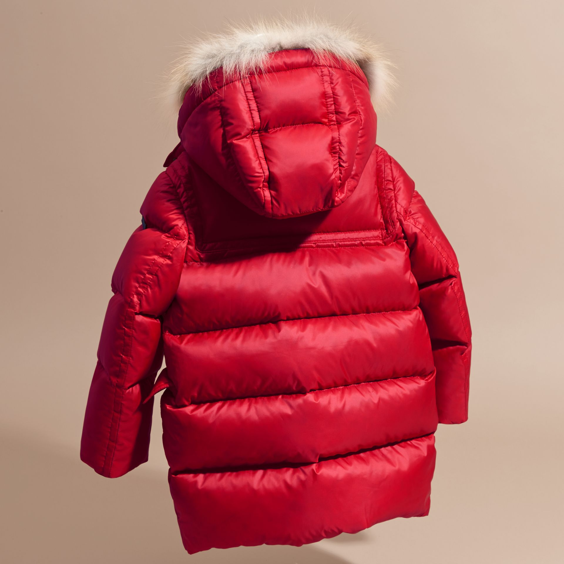 Parade red Down-filled Hooded Coat with Detachable Fox Fur Trim - gallery image 4