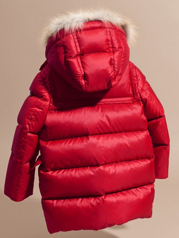 Parade red Down-filled Hooded Coat with Detachable Fox Fur Trim - cell image 3
