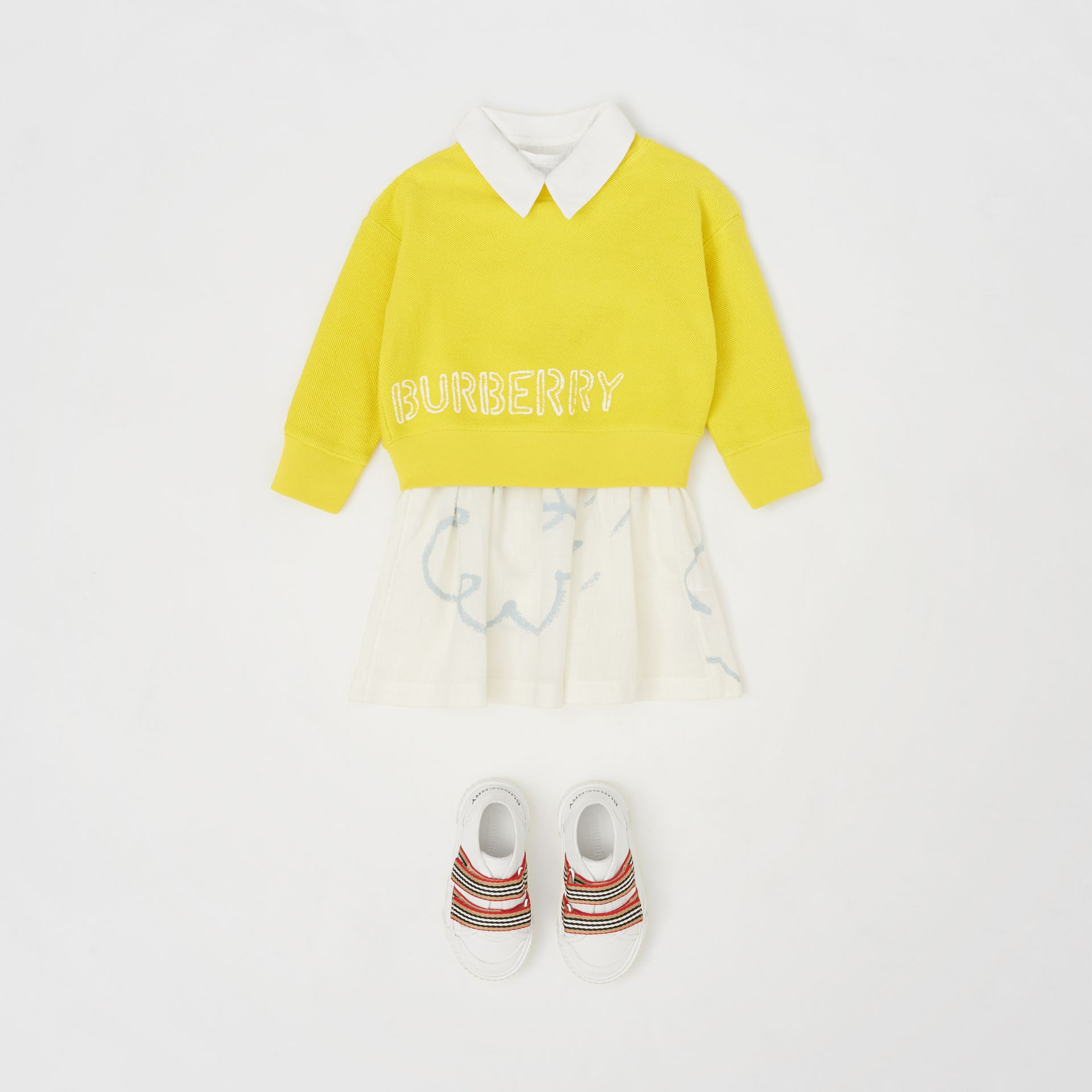 Stencil Logo Print Cotton Sweatshirt in Citron - Children | Burberry - gallery image 2