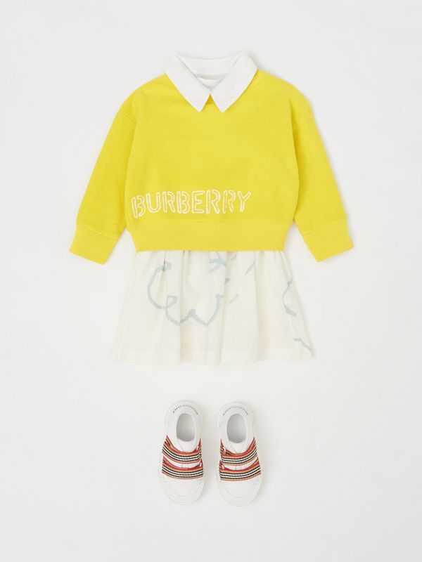Stencil Logo Print Cotton Sweatshirt in Citron - Children | Burberry - cell image 2