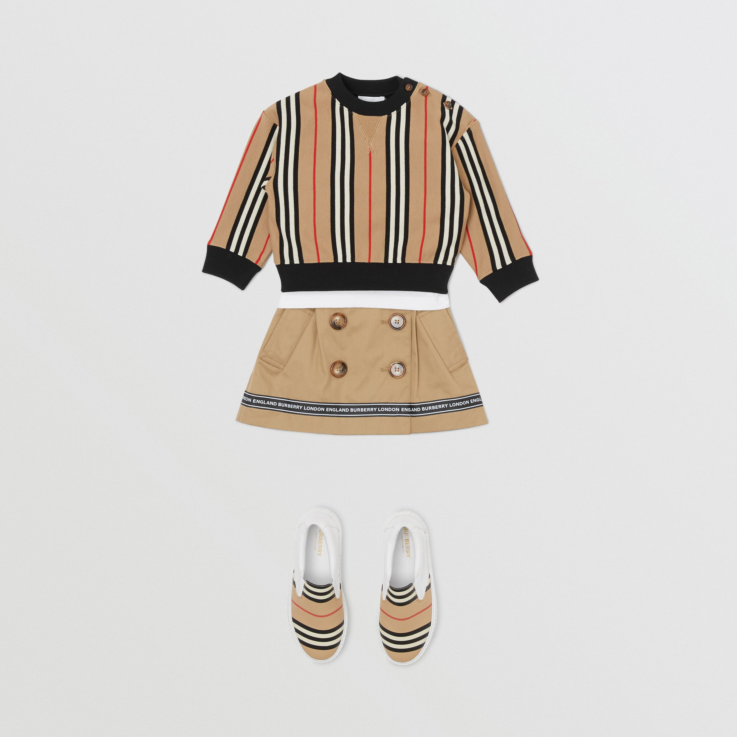Icon Stripe Cotton Sweatshirt in Archive Beige - Children | Burberry - 3