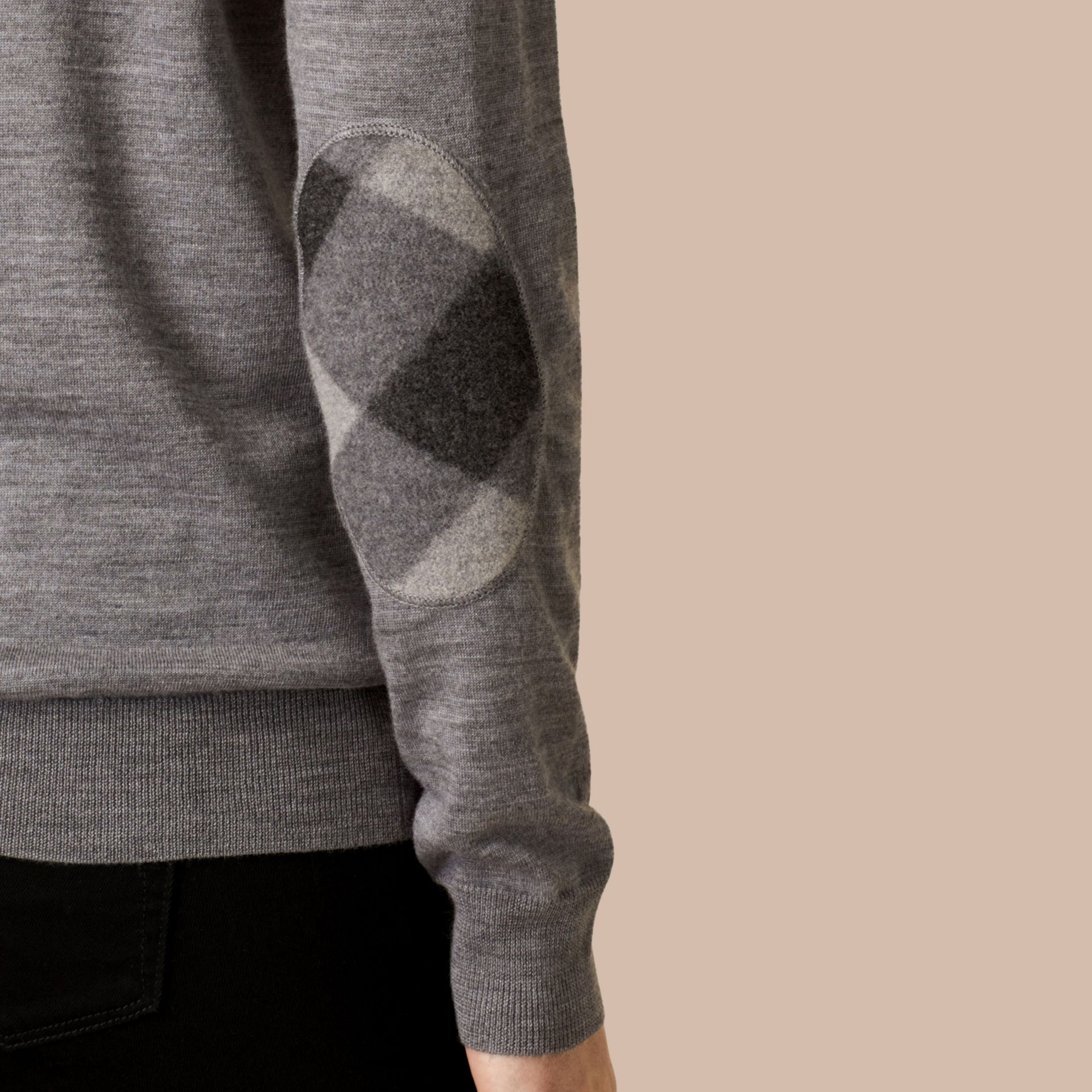 Check Detail Merino Wool Crew Neck Sweater in Mid Grey Melange - gallery image 2
