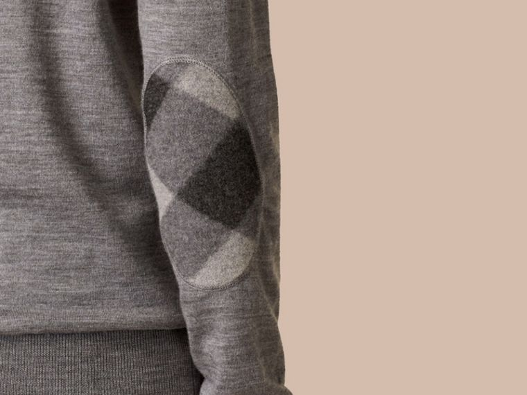 Check Detail Merino Wool Crew Neck Sweater in Mid Grey Melange - cell image 1