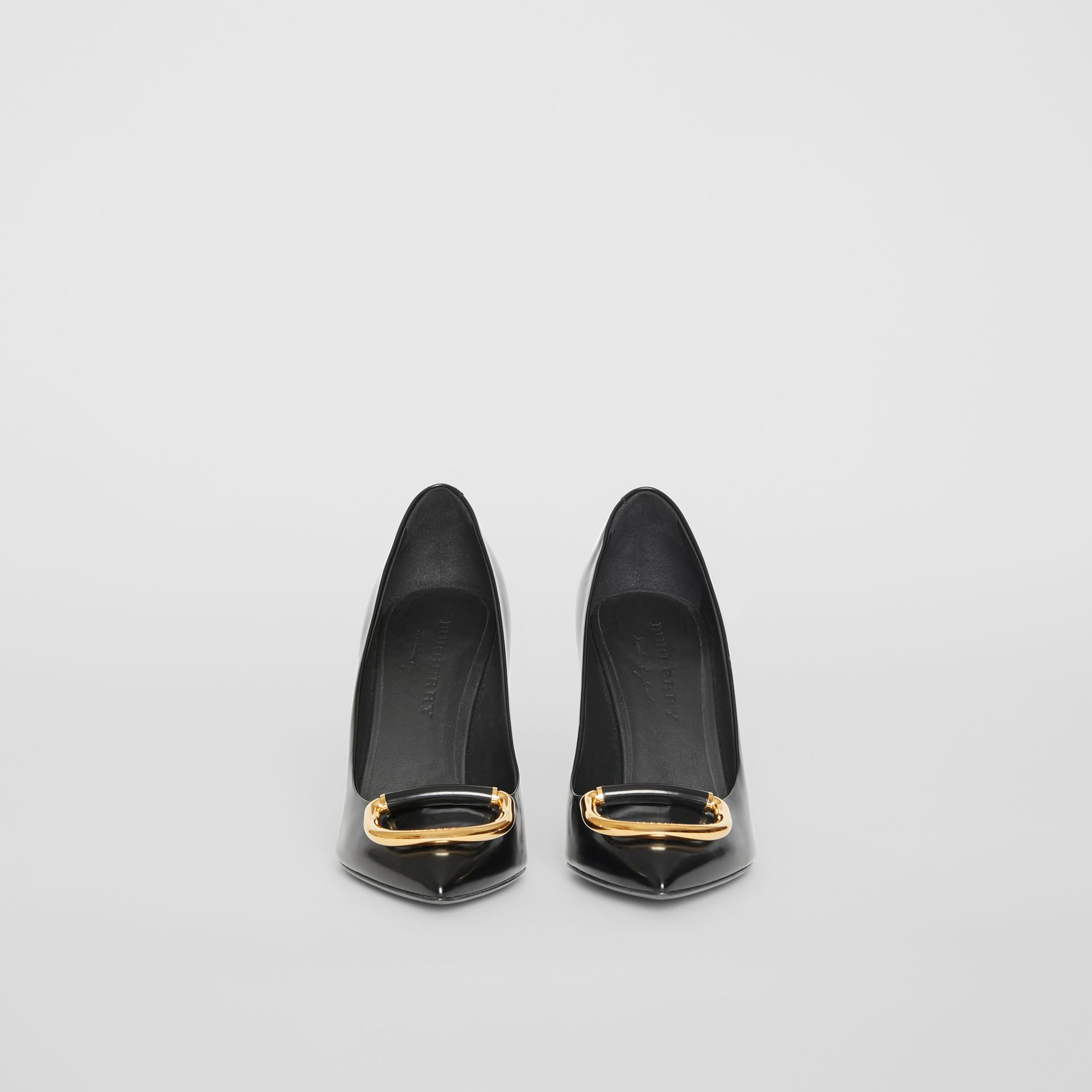 The Leather D-ring Stiletto in Black/gold - Women | Burberry United Kingdom - gallery image 3