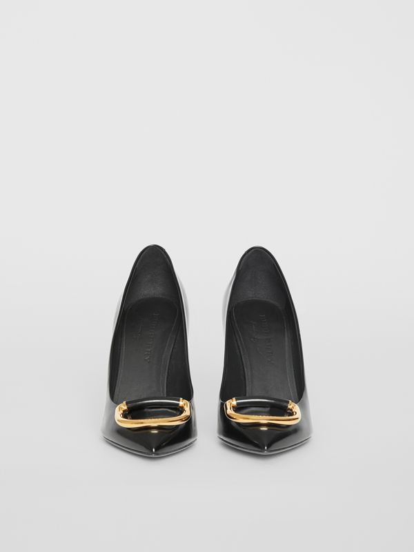 The Leather D-ring Stiletto in Black/gold - Women | Burberry United Kingdom - cell image 3