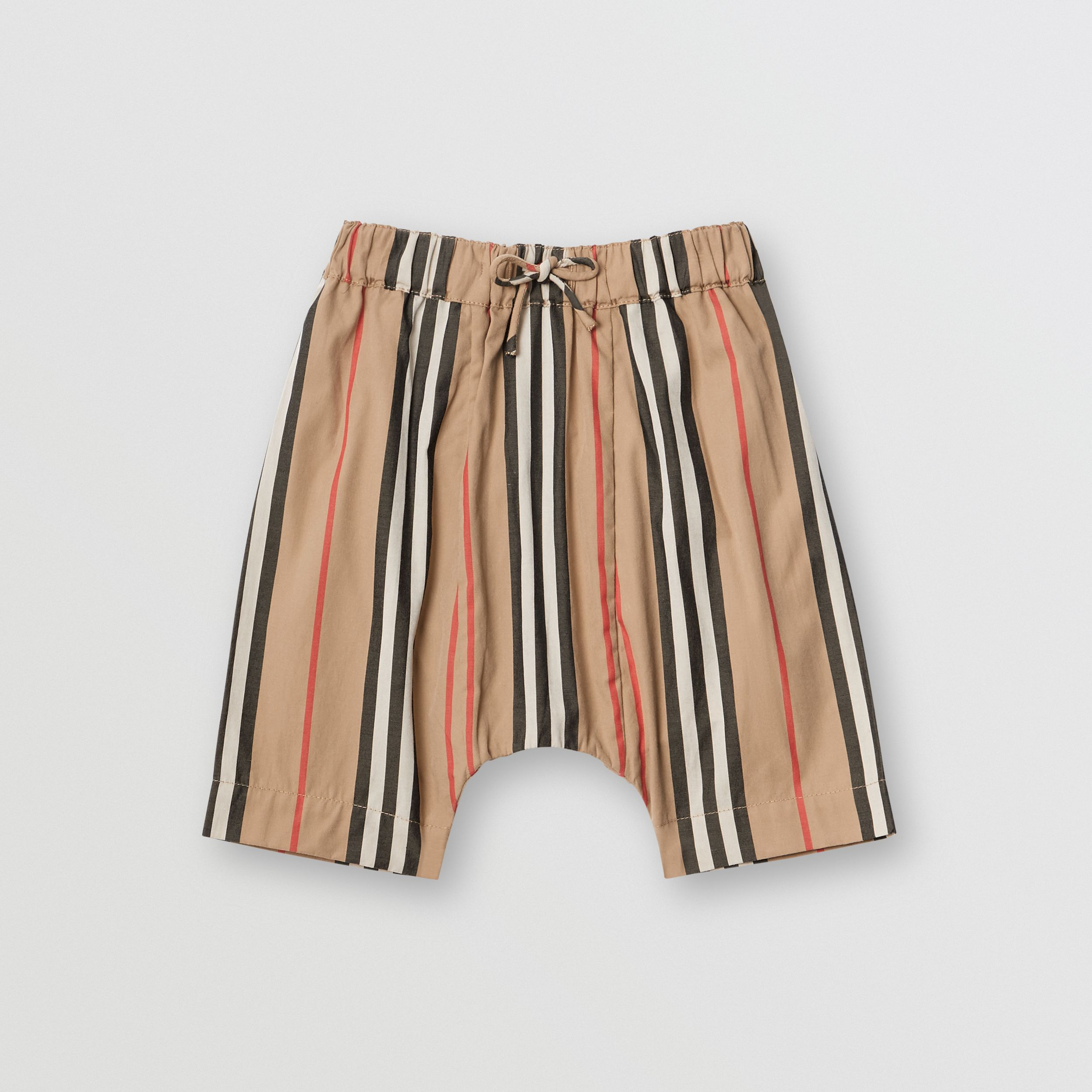 Icon Stripe Cotton Poplin Trousers in Archive Beige - Children | Burberry - 1