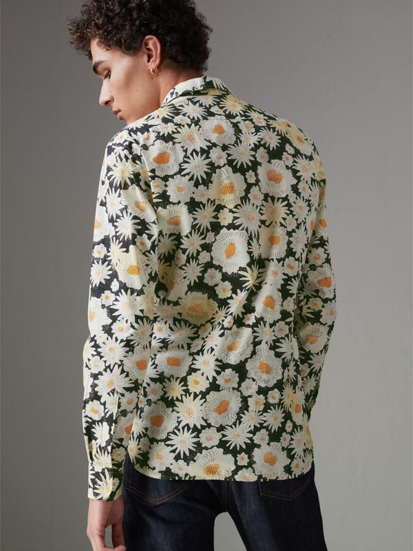 Daisy Print Cotton Shirt in Black - Men | Burberry United States - cell image 2