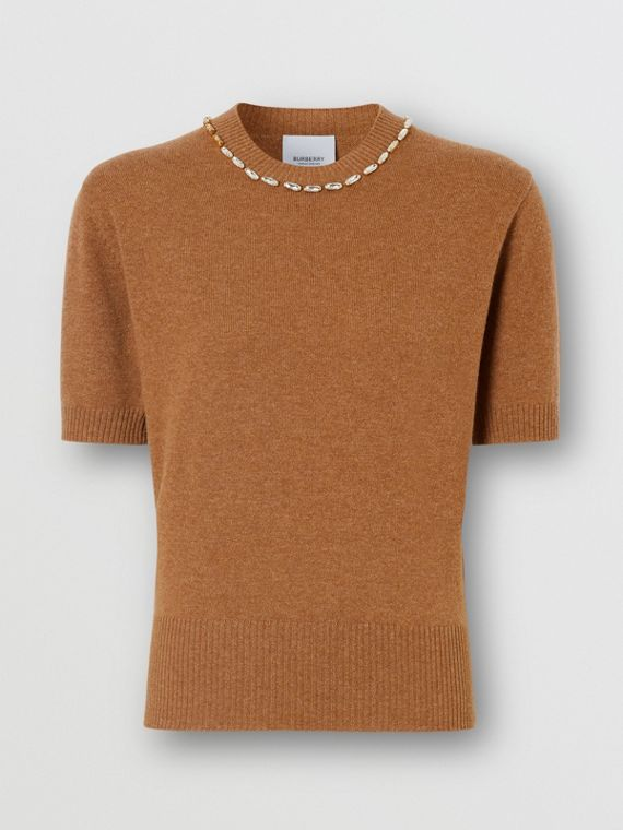 Embellished Cashmere Top in Burnt Almond