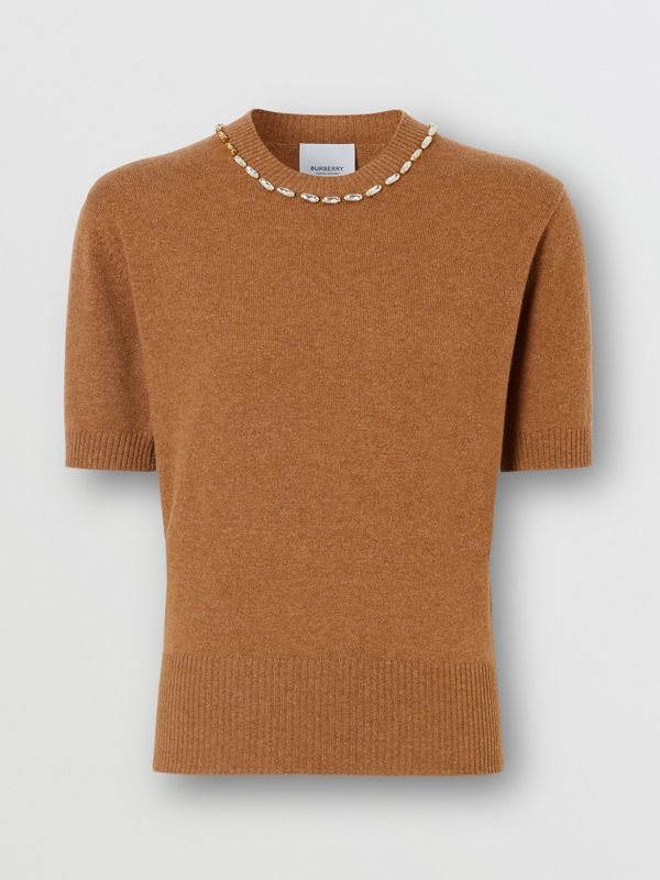 Embellished Cashmere Top in Burnt Almond - Women | Burberry - cell image 3