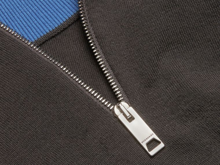 Zip-collar Cashmere Sweater in Mid Grey Melange - Men | Burberry - cell image 1