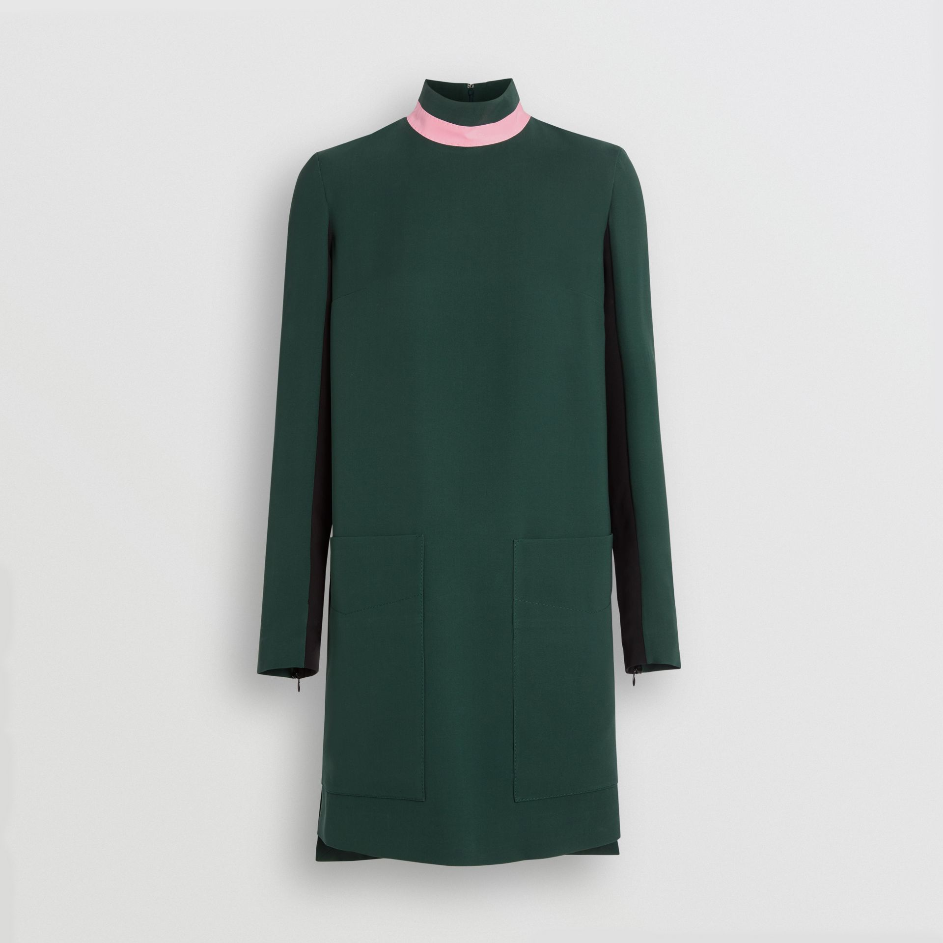 Two-tone Silk Wool Shift Dress in Dark Forest Green - Women | Burberry United Kingdom - gallery image 3