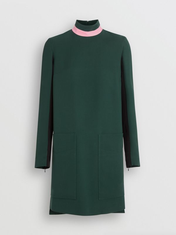 Two-tone Silk Wool Shift Dress in Dark Forest Green - Women | Burberry United Kingdom - cell image 3