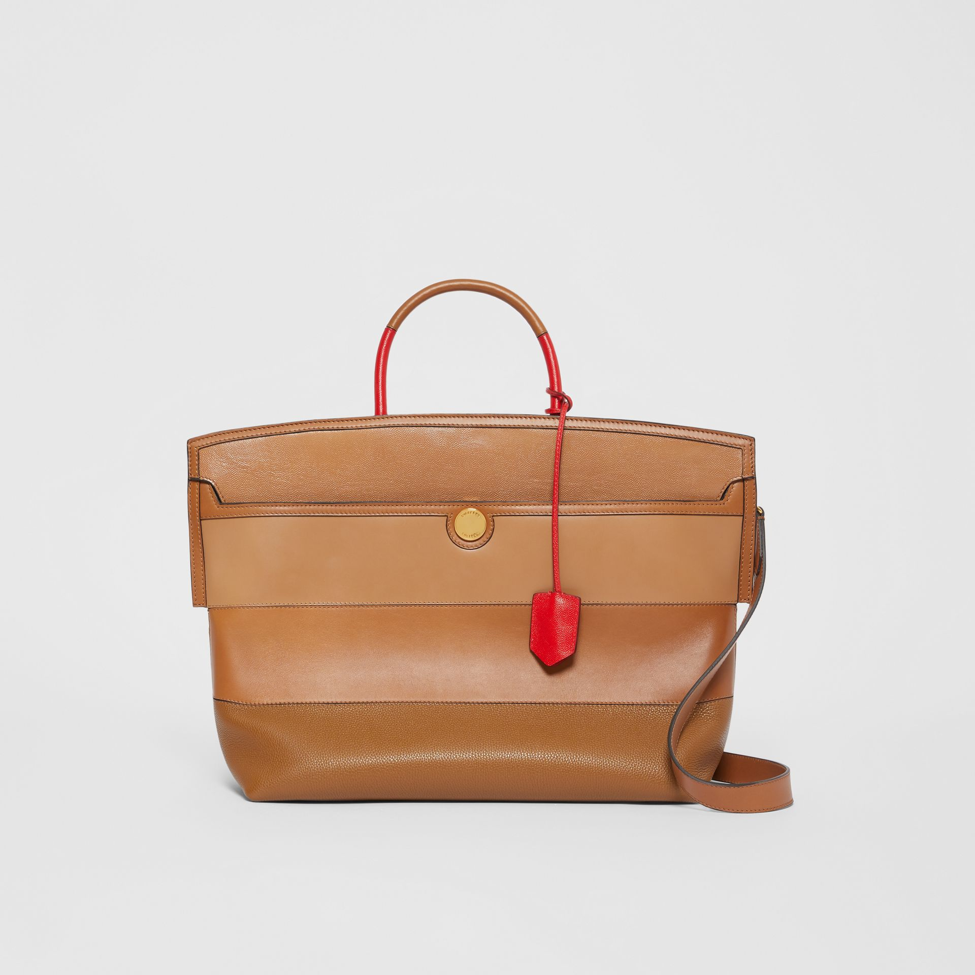Panelled Leather Society Top Handle Bag in Warm Camel - Women | Burberry United Kingdom - gallery image 0