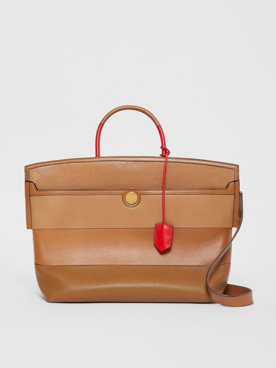 Panelled Leather Society Top Handle Bag in Warm Camel