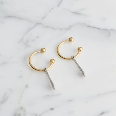 Kilt Pin Gold and Palladium-plated Hoop Earrings