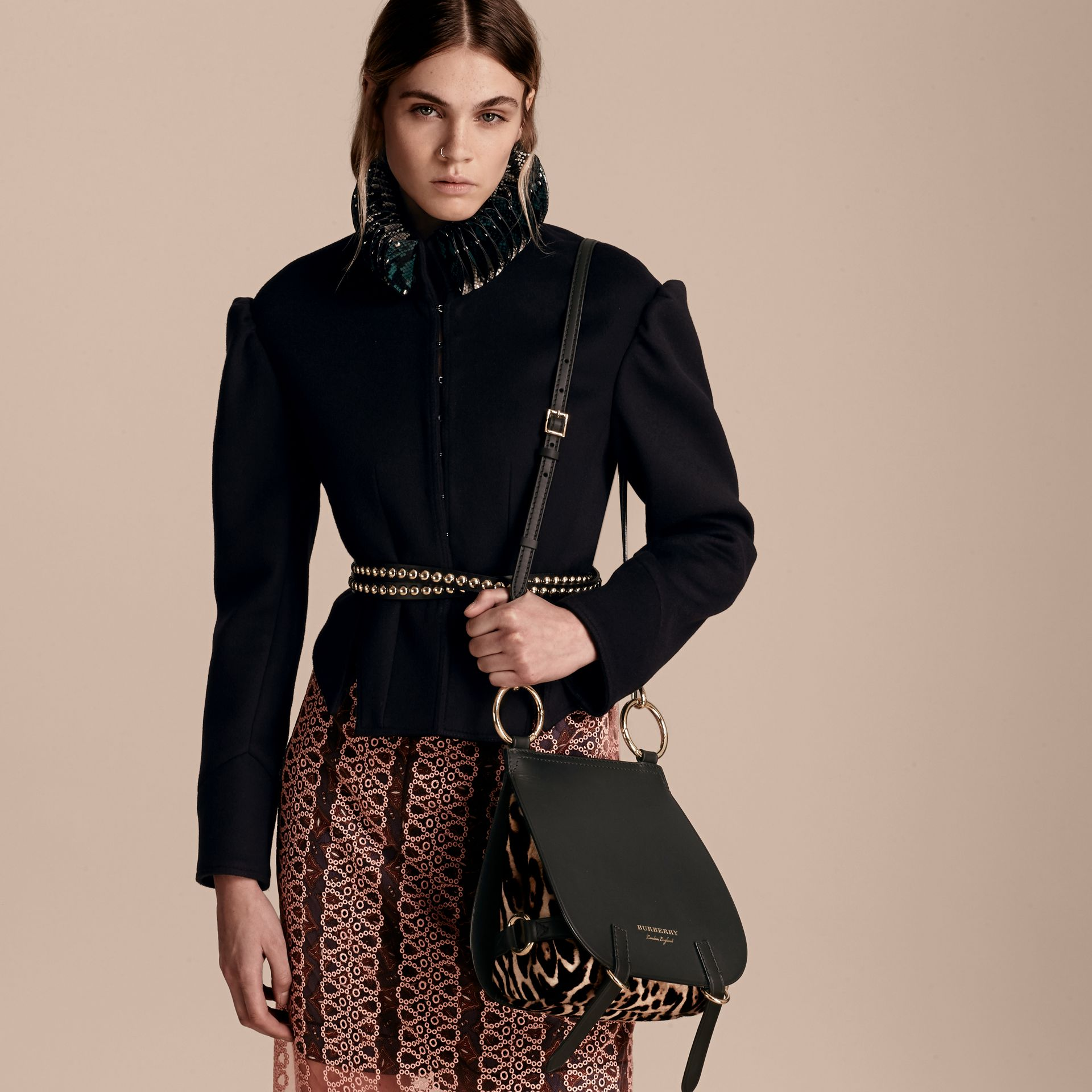 The Bridle Bag in Leather and Calfskin in Black - Women | Burberry - gallery image 4