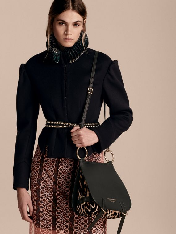 The Bridle Bag in Leather and Calfskin in Black - Women | Burberry United Kingdom - cell image 3