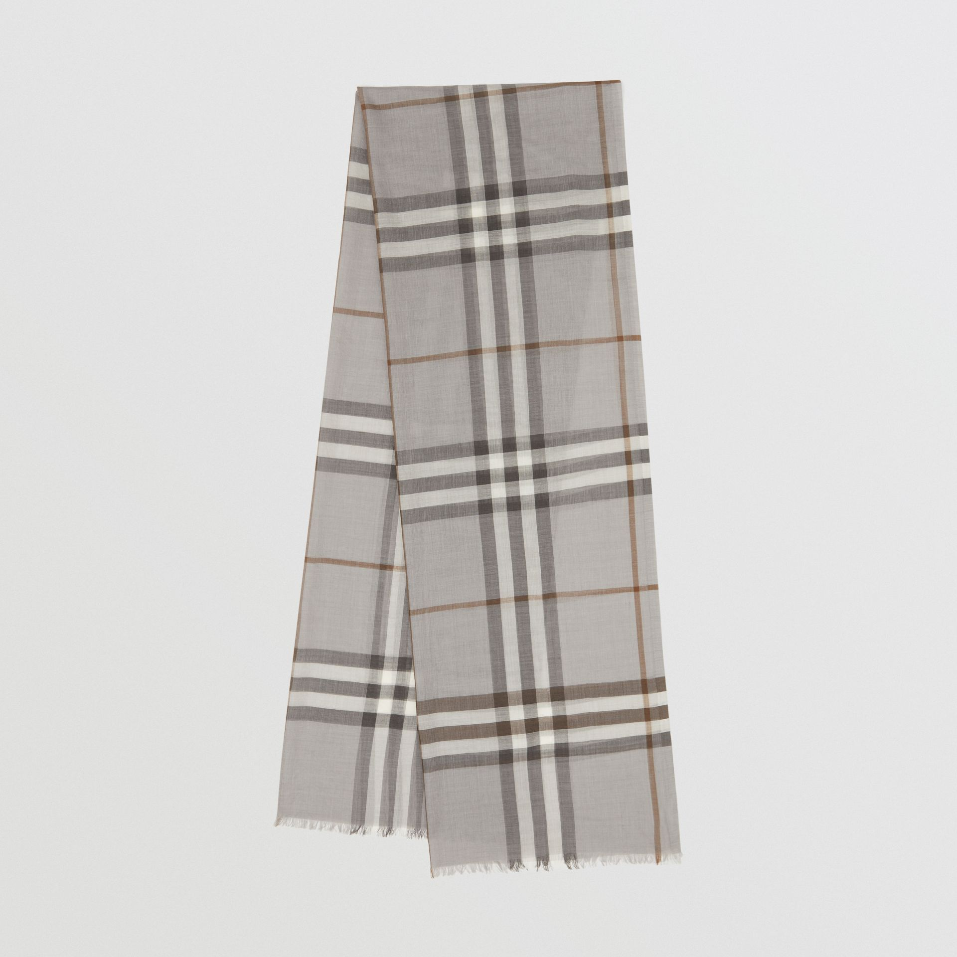Lightweight Check Wool Silk Scarf in Grey | Burberry - gallery image 0