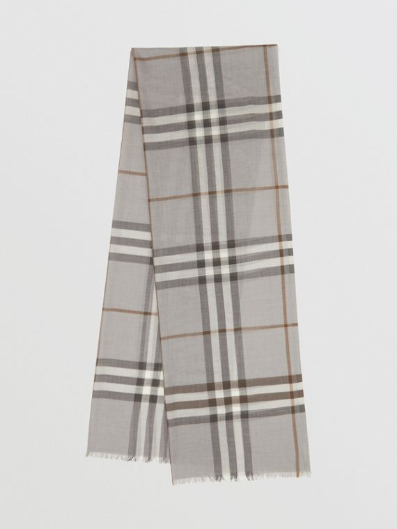 Lightweight Check Wool Silk Scarf in Grey