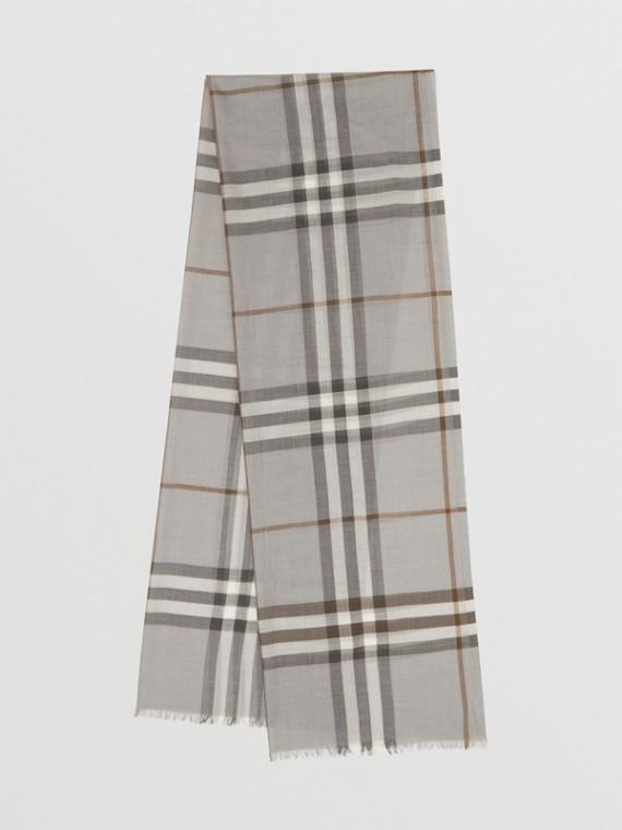Sciarpa leggera in lana e seta con motivo tartan (Grigio)