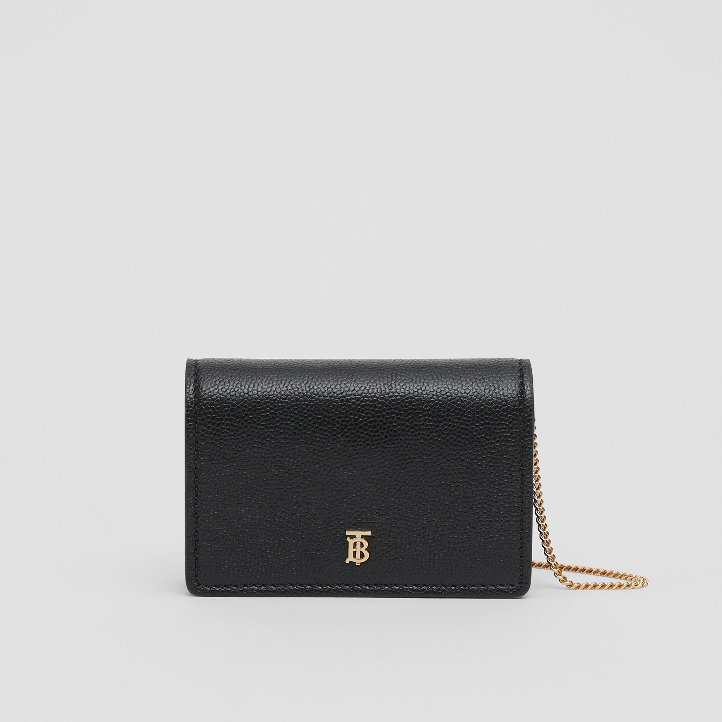 Grainy Leather Card Case with Detachable Strap in Black - Women | Burberry - 1