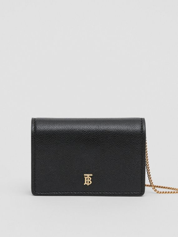 Grainy Leather Card Case with Detachable Strap in Black