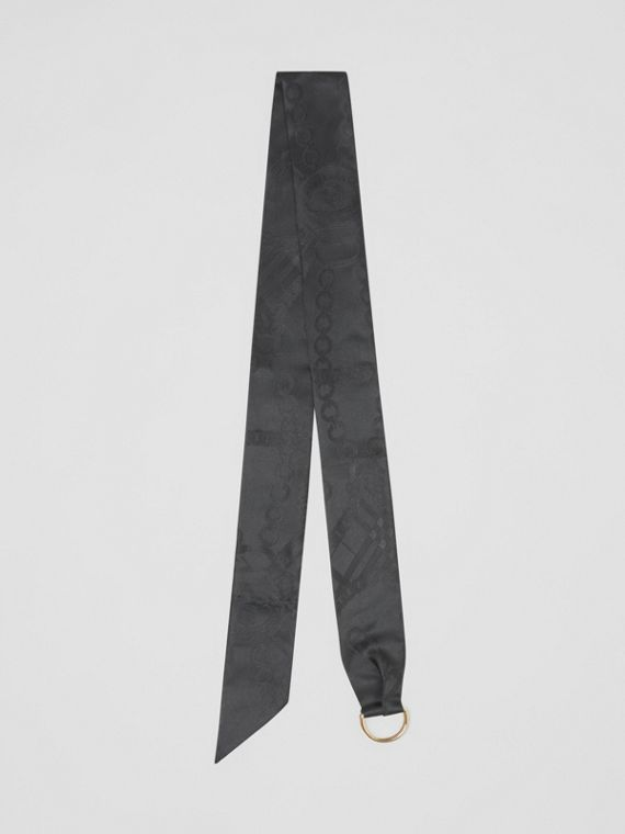D-ring Detail Chain Silk Jacquard Skinny Scarf in Black