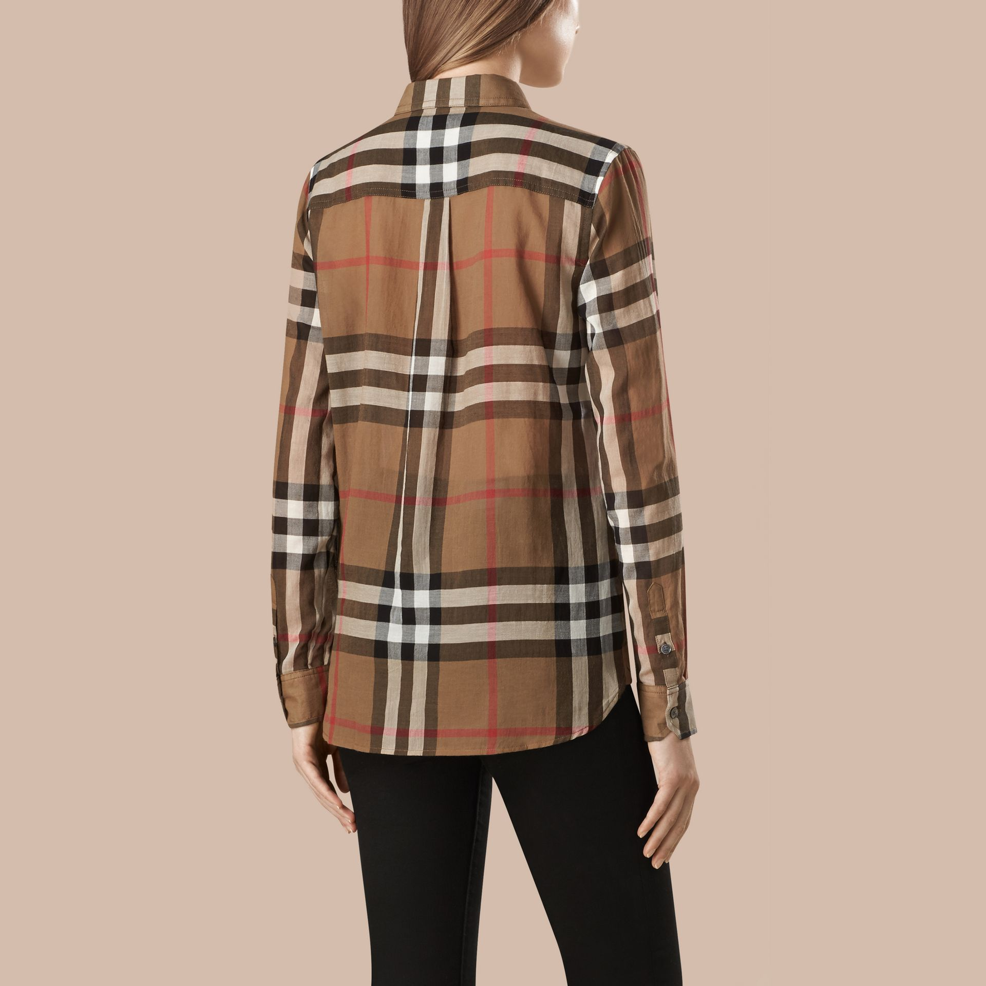 Taupe brown Check Cotton Shirt - gallery image 4