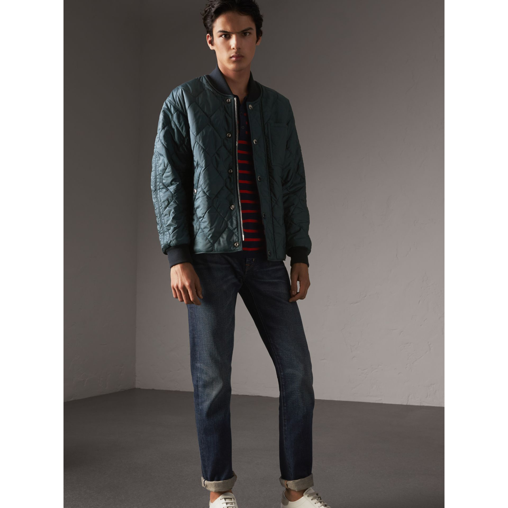 Quilted Bomber Jacket in Petrol Blue - Men | Burberry - gallery image 1